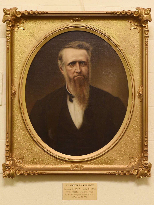 A portrait of Alanson Partridge hangs in the vestibule