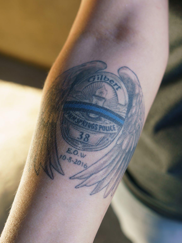 Christina Vega shows the tattoo she got in memory of