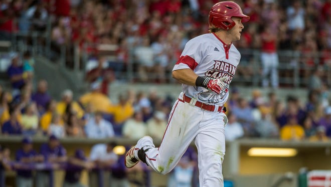UL outfielder Kyle Clement runs the bases during a 2015 NCAA Super Regional game against LSU at Alex Box Stadium in Baton Rouge.