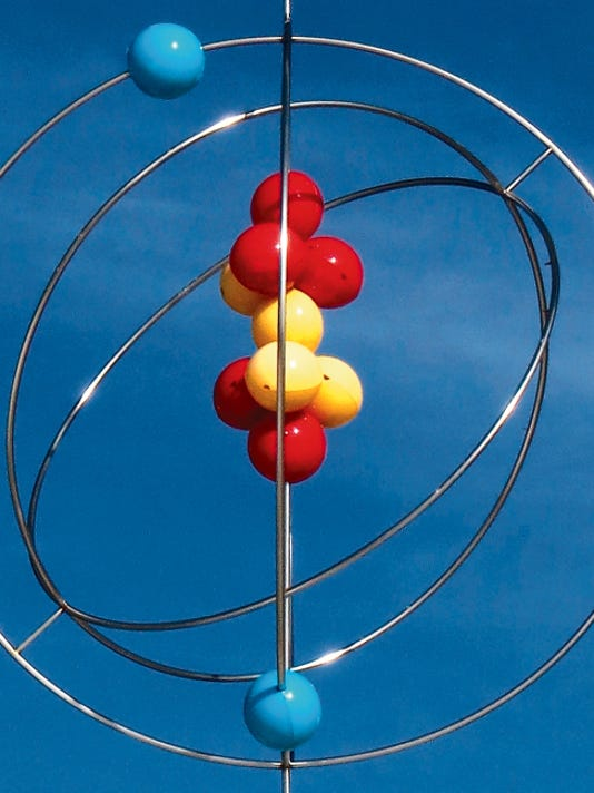 The model of the atom is displayed in front of the National Museum of Nuclear Science and History, near Sandia National Laboratory in Albuquerque. Photo Courtesy Tom Vaughan/FeVa Fotos