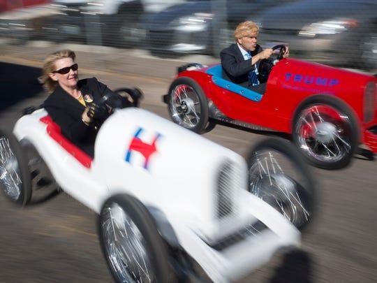 Hillary Clinton (Deb Fiorentino) and Donald Trump (Andrew