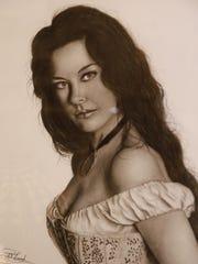 Portrait of actress Catherine Zeta-Jones by Kirtland artist Rick Conrad.