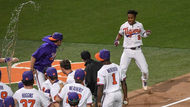 Clemson junior infielder Jordan Greene (9) hit a first-pitch walk-off home run against Florida State to help the Tigers win 5-4 and the series 2-1 on Saturday at Doug Kingsmore Stadium in Clemson on Monday.