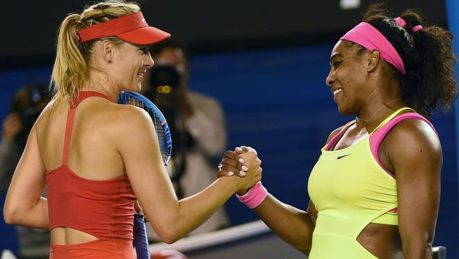 Serena Williams, right, defeated Maria Sharapova in the singles final match at the Australian Open in January.