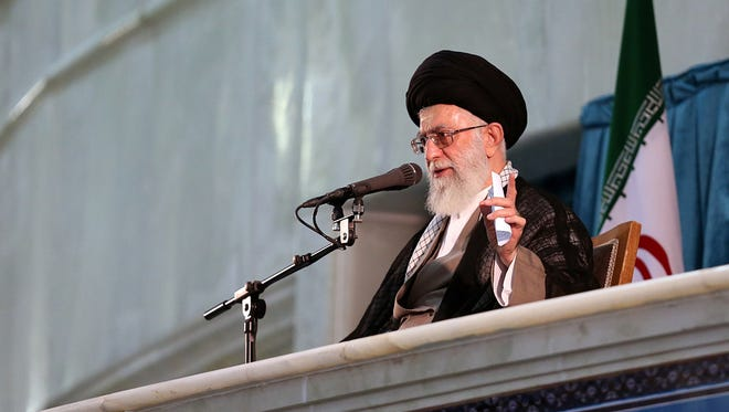 A handout photo provided by the office of Iran's supreme leader Ayatollah Ali Khamenei shows him delivering a speech on June 4, 2015.
