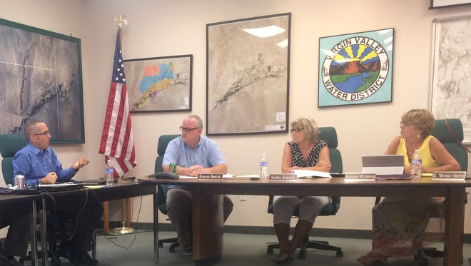 VVWD's attorney Bo Bingham, left, gives an update regarding two insurance claims filed with Pool Pact.
