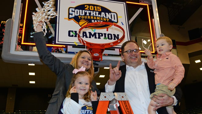 Brooke and Scott Stoehr  are pictured after Northwestern State won the 2015 SLC Tournament championship.
