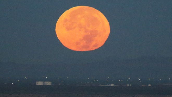 The full supermoon descends below the horizon as the sun rose early Monday morning visible from West El Paso. This supermoon was the closest full moon of the year and the closest to earth in 68 years. The event will not happen again until 2034, according to the NASA website. The last time the moon was this close to earth was in 1948, the website states.