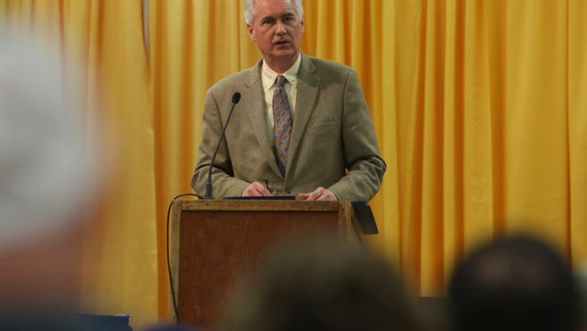 Congressman Tom McClintock speaks Thursday during the 68th annual Forest Products & Construction Equipment Exposition in Anderson.