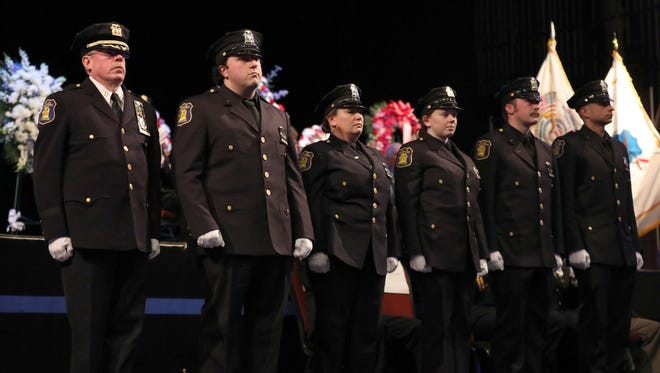 Yonkers Police Captain Andrew Lane, and Police Officers Thomas Bennett, Dawn Lebzelter, Kayla Maher, Brendan Moore and Vincent Reda won 1st place in the Citation of Exceptional Merit during the Westchester County Law Enforcement Memorial Day at the Westchester County Center in White Plains, May 10, 2018.