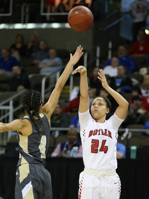 Butler's Teri Goodlett shoots late in the second half.March 10, 2017