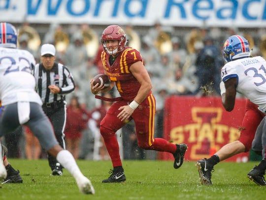 Iowa State senior quarterback Joel Lanning runs the