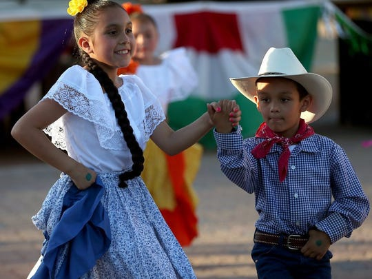 Adam Sauceda/Standard-Times Traditional Mexican dancers with Ballet Azteca entertain family, friends and community members on Friday evening as part of the Southside Lions Club Cinco de Mayo Celebration.