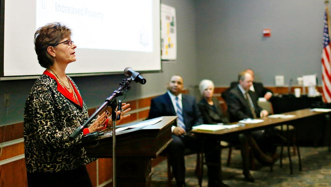 West York Superintendent Emilie Lonardi gives an update on her district during a news conference regarding the Campaign for Fair Education Funding at the York City School District administrative building in York City, Wednesday, Feb. 1, 2017. Dawn J. Sagert photo