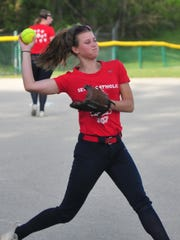 Seton Catholic softball sophomore Taylor Haager throws