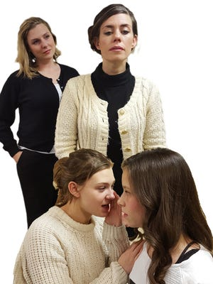 """Cast members of Pandora Productions' """"The Children's Hour"""" with Lenae McKee Price as Martha and Lauren Argo as Karen (back) and Arabella Paulovich as Mary and Lexie Stites as Rosalie (front)."""