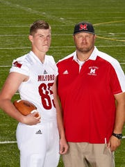 Connor Foster, left, is a junior tight end for Milford. His father, Trevor, was a lineman at UC. The Bearcats now have interest in the younger Foster.