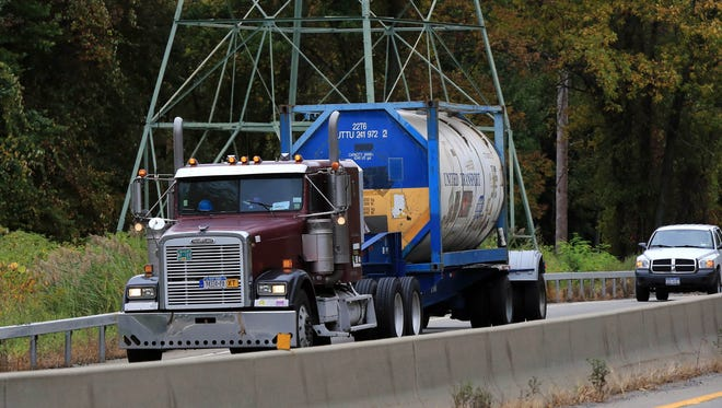 Tractor trailer trucks travel on Route 17 in Sloatsburg on Oct. 1, 2014. The state DOT is considering a request by Assemblyman James Scoufis to forbid tractor trailer trucks from using routes 17 and 32 in Rockland and Orange counties. Scoufis says truck companies use the local roads to save on Thruway tolls.