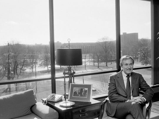 Hospital Corporation of America Chairman Thomas F. Frist Jr., who this year reasserted closer personal control of daily operations, is ending a turbulent 1987, but said he is confident that HCA and its spinoffs are healthier and have a better future than the combined operation during an interview at his office Dec. 15, 1987.
