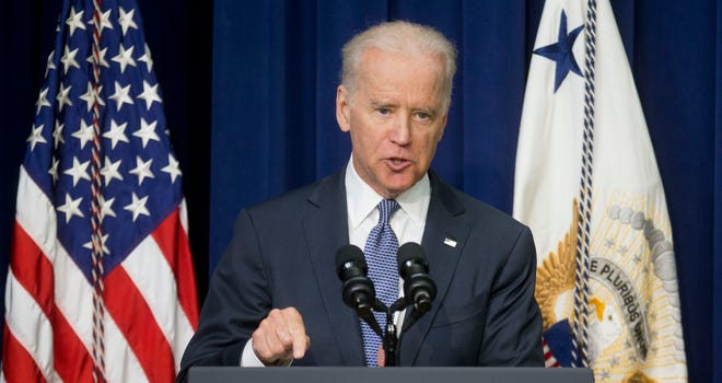 Vice President Biden speaks about the release of the first report of the White House Task Force to Protect Students from Sexual Assault on April 29, 2014 in Washington, Tuesday, April 29, 2014 in Washington. The White House is urging schools to provide victims of sexual assault with a confidential, respectful way to report the crimes and seek treatment.