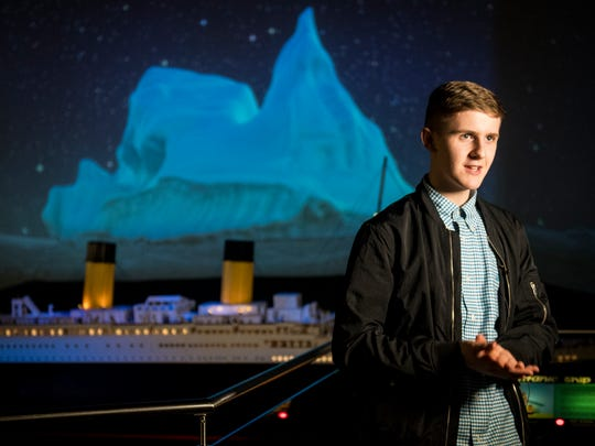 Iceland's Brynjar Karl Birgisson, right, created a 26-foot-long Titanic model out of 56,000 Lego bricks. The model is the world's largest Titanic Lego replica and can be seen at the Titanic Museum Attraction in Pigeon Forge.