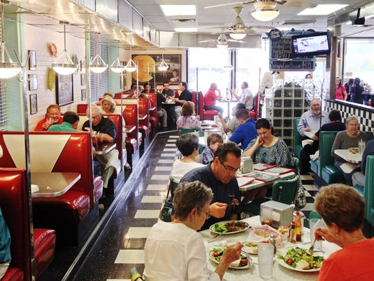 Patrons eat lunch at Hub City Diner in Lafayette.