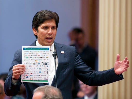 California state Sen. Kevin de Leon, D-Los Angeles, in a July 17, 2017 file photo. De Leon is proposing that California provide a credit on its state income tax for amounts given to a state charitable fund as a way to get around the part of the new federal tax law that limits deductions for state income taxes but not for charitable contributions. (AP Photo/Rich Pedoncelli)