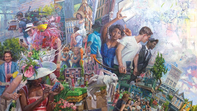 A large oil on canvas painting by artist Benjamin Duke that reflects composite happenings around Metro Louisville.