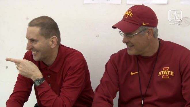 Iowa State director of athletics Jamie Pollard, left, visited coach Paul Rhoads and the Cyclones' spring football workout Tuesday less than a month after undergoing triple bypass surgery.
