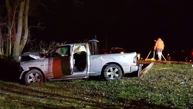 The vehicle was traveling north on Fisher Road in Oakfield when it left the road.