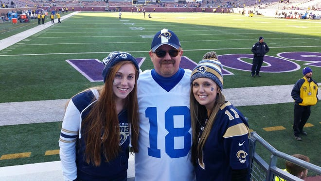 Busch and his daughters drove 10 hours to see the Rams play at Minnesota on Nov. 8.