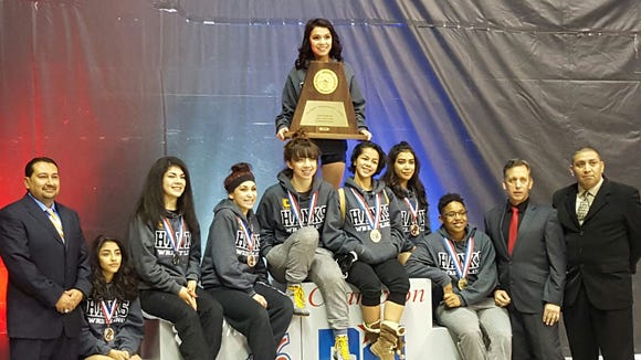 The Hanks girls wrestling team clinched its third straight state title Saturday at the Class 5A state wrestling tournament in Cypress, near Houston.