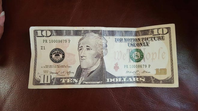 A photo of the phony $10 bill Brian Goodrich found in his wallet.