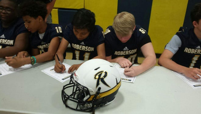 "Incoming freshmen for the Roberson football program took part in a ""commitment ceremony"" earlier this week in Skyland."