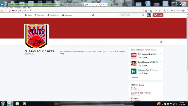 Robert Diaz took a screen shot after he was blocked from the El Paso Police Department's Twitter page.