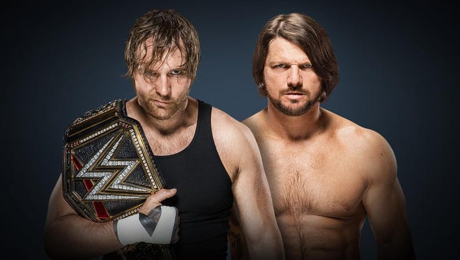 WWE superstars Dean Ambrose, left, and AJ Styles.