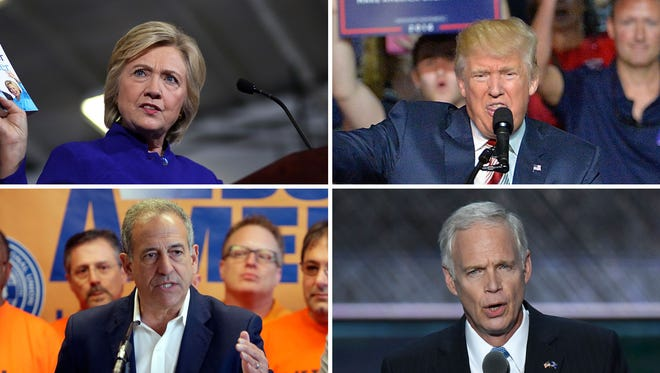 (Clockwise) Democrat presidential nominee Hillary Clinton, Republican presidential nominee Donald Trump, Republican U.S. Sen. Ron Johnson and Democrat Senate challenger Russ Feingold.