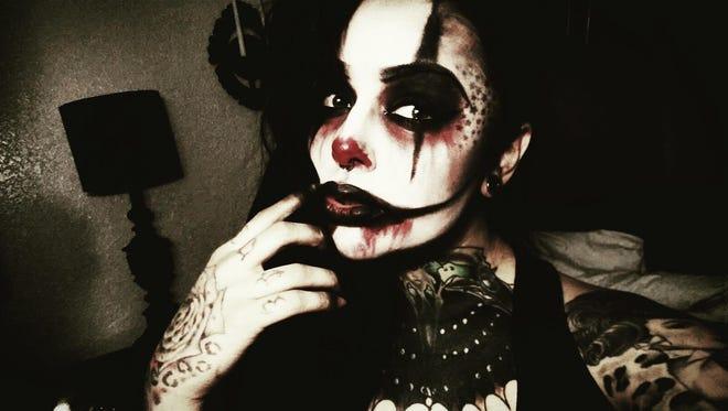 Nikki Sinn as a clown.