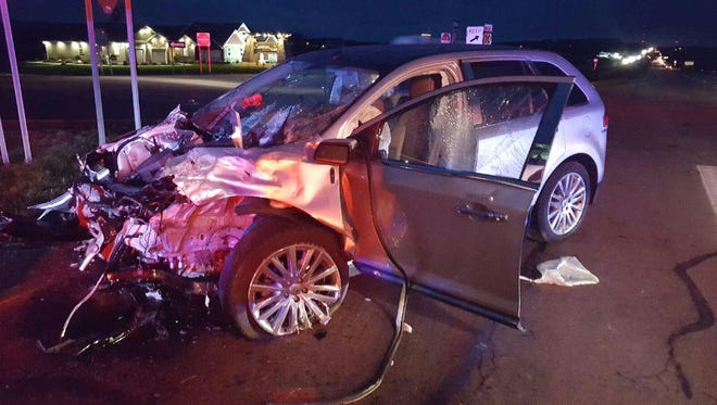 An Ashland woman was injured in a two-vehicle crash at U.S. 30 and Ohio 89 near Jeromesville in Ashland County on Thursday afternoon.