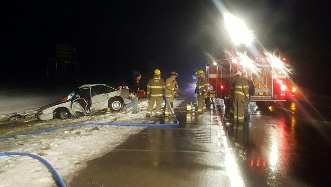 Three people were injured in a crash at U.S. 30 and Ohio 511 on Saturday, Dec. 17, 2016.