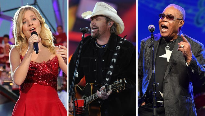 Jackie Evancho, Toby Keith and Sam Moore.
