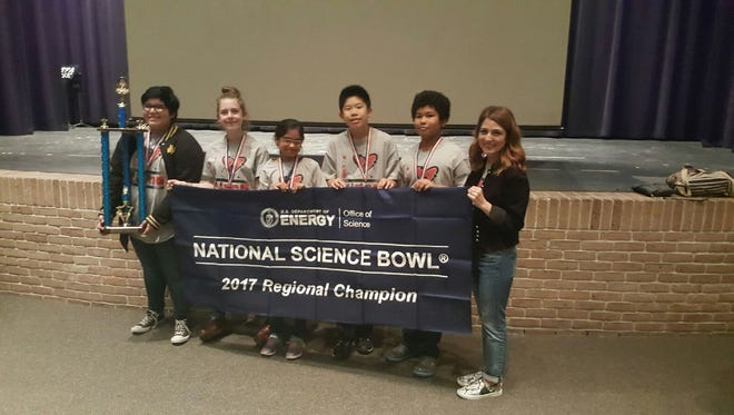 Baker Middle School Science Bowl team Alex Villela (from left), Abby Fields, Sunidhi Kulkarni, Evan Hsiang, Nathan Alanmanou and Coach Leigh Marsh.