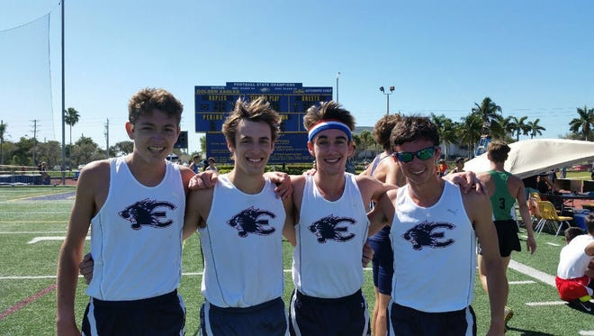 Estero's 4x1600-meter relay team of Dean Gamblin, Evan Williams, Hugh Brittenham and Arye Beck set an Eagle Invitational record with their time of 18:32.93 Saturday.