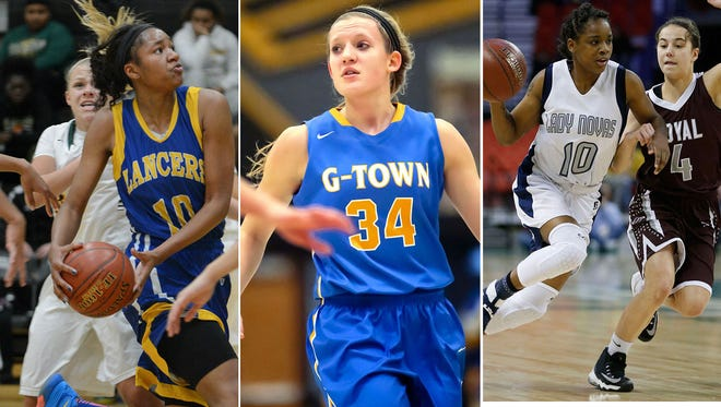 Sidney Cooks (left), Kenzie Schmitz (center) and Shemera Williams are repeat first-team selections on the WBCA all-state basketball team.