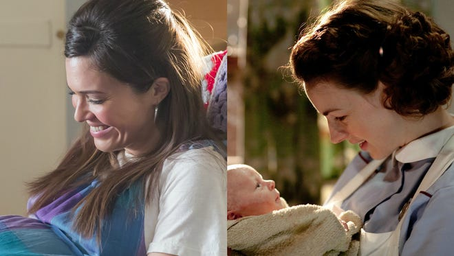 Mandy Moore in 'This is Us' (left) and Jessica Raine in 'Call the Midwife.'