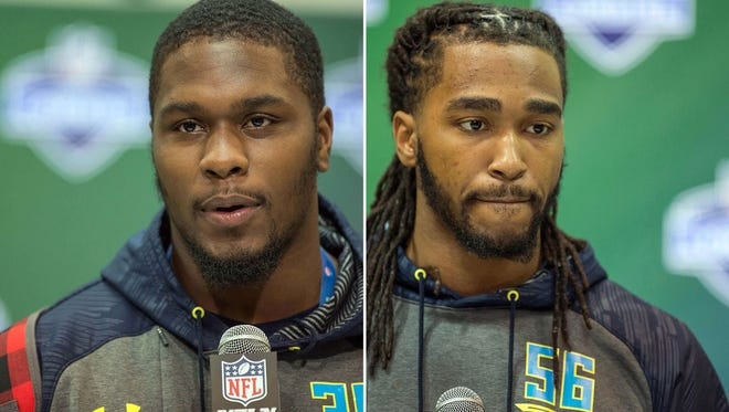 Defensive linemen Malik McDowell (left) of Michigan State and Tim Williams (right) of Alabama will be considered carefully by NFL teams in the draft.
