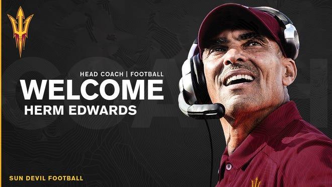 Arizona State announced the hiring of Herm Edwards on Sunday, Dec. 3, 2017.