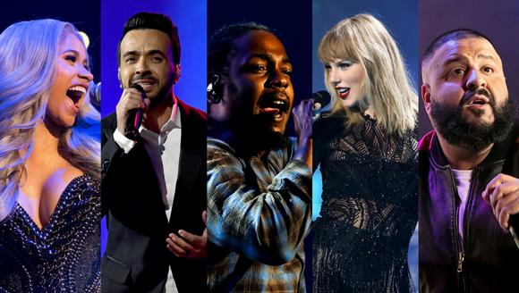 Cardi B, Luis Fonsi, Kendrick Lamar, Taylor Swift and