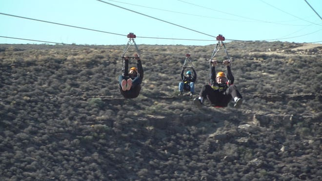 Riders fly at the new Ziplines of Grand Canyon West