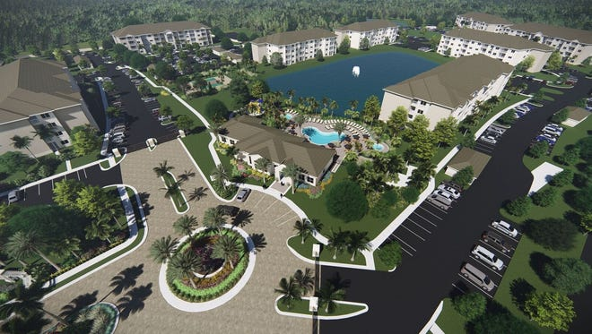 An artist's conception of completed buildings at Milano Lakes, a new apartment community off Collier Boulevard in South Naples.